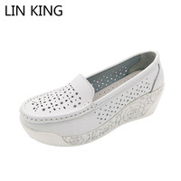 LIN KING New Arrival Leather Women White Nurse Shoes Ladies Casual Platform Flats Comfortable Massage Low