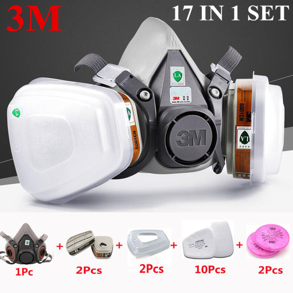 3M 6200 17 In 1 Suit Half Face Painting Spraying Respirator Gas Mask Safety Work Filter Dust Mask 3m 6200 half face respirator dust mask 9 in 1 suit industry spraying safety face piece gas mask respirator for paintting