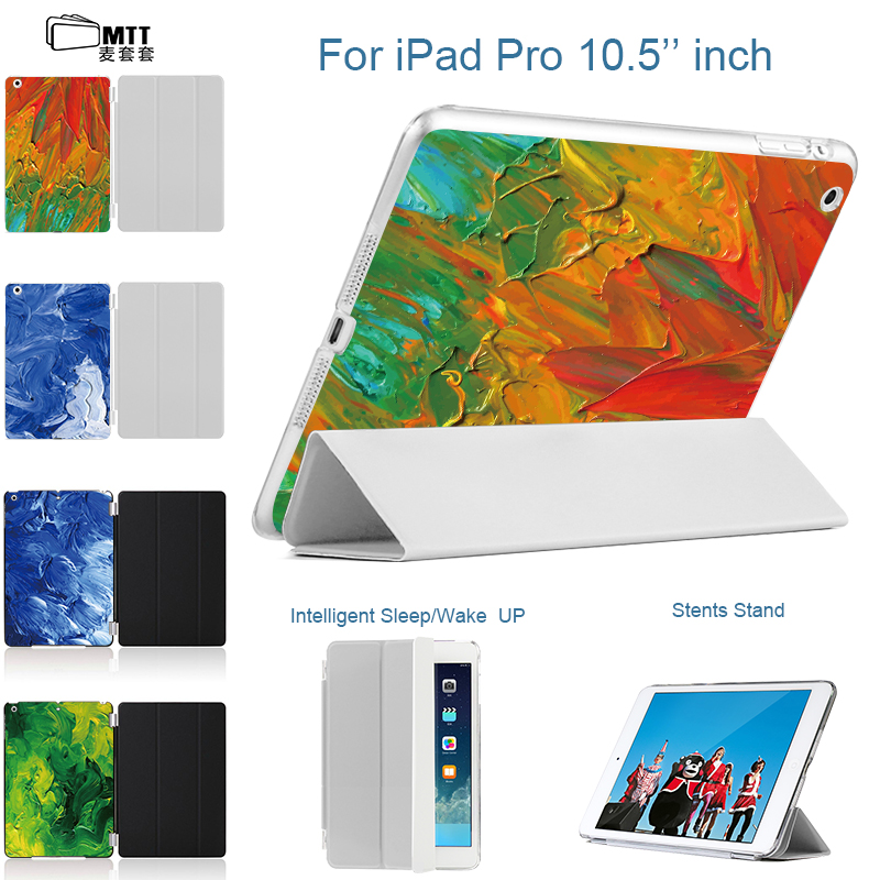 MTT Watercolor Dyes Back Printing Cover For iPad pro 10.5 Smart Tablet Case For Apple iPad 10.5 Case New 2017 fashion hot sale for ipad mini4 cover high quality soft tpu rubber back case for ipad mini 4 silicone back cover semi transparent case shell skin