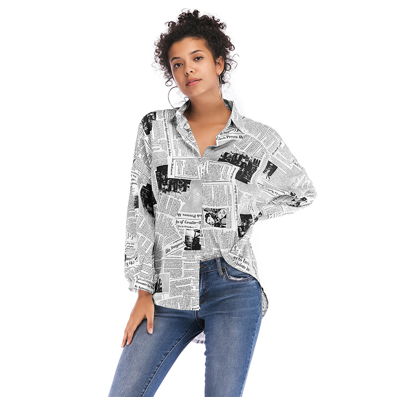 BEFORW 2019 Fashion Newspaper Print Women Blouse Shirt Loose Turn Down Collar Long Sleeve Blouses Tops Wild Casual Shirts Blusa