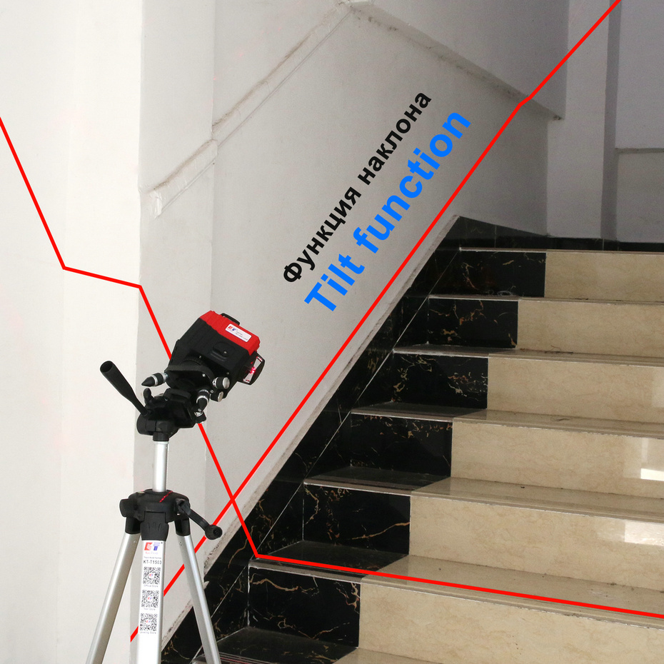 Kaitian Laser Level Tripod 3D 12Lines Self-Leveling Horizontal&Vertical Cross Powerful 360 Bracket Red Line Nivel Laser Receiver