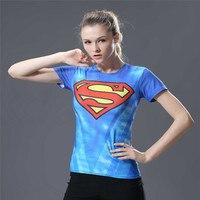 2018 Women Superman Captain America Compression Shirt Women Fitness T Shirt Tights Tops Clothing Poleras De