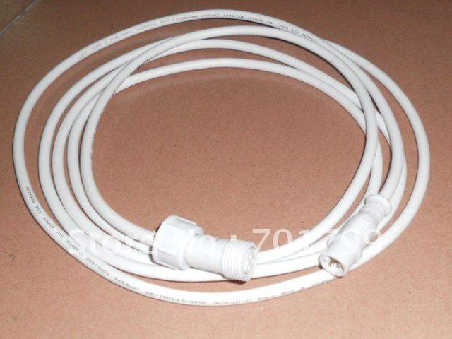 3m(10feet) 3 core waterproof extension cable, one end with male, the other end with female, white color