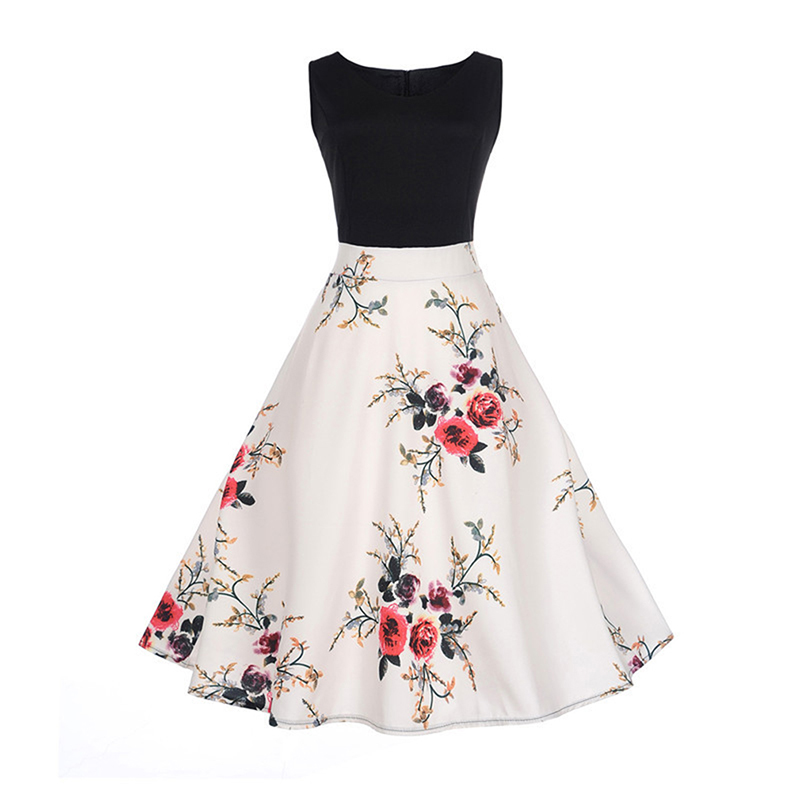 2018 O-Neck Lady Elegant Vintage Floral Print Sleeveless Dress Rose Printed Retro Party Gown Swing Pleated Dress 844951