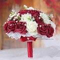 Belleza Burdeos y Blanco Crema Artificial Rose Flores Decorativas Hechas A Mano Detalles de Encaje de Cristal Nupcial de la Novia Ramos de Novia