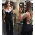 2016 Jumpsuit pocket women overall Black lace stitching Sling Halter sexy fashion waist women's jumpsuit pants coveralls Rompers