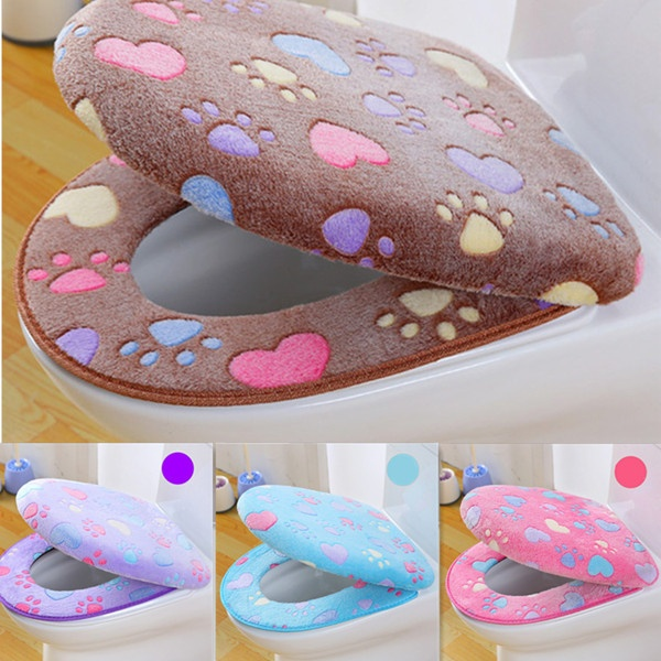 Thick Coral Velvet Luxury Toilet Seat Cover Set Soft Warm Zipper One / Two-piece Toilet Case Waterproof Bathroom WC Cover