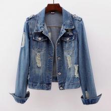 2019 Plus Size 5XL Denim Jacket Women Boyfriend Jean Coat Streetwear Harajuku Vi