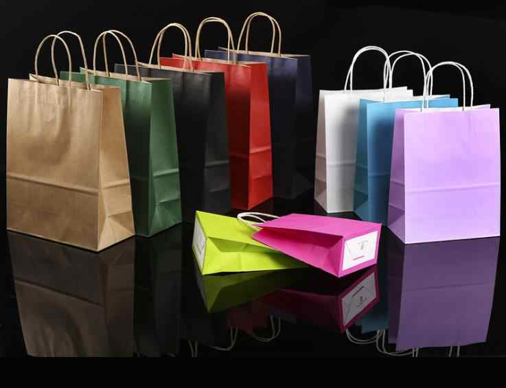 Shopping Hand Bags Kraft Paper Bag Strong Solid No Logo Customizable
