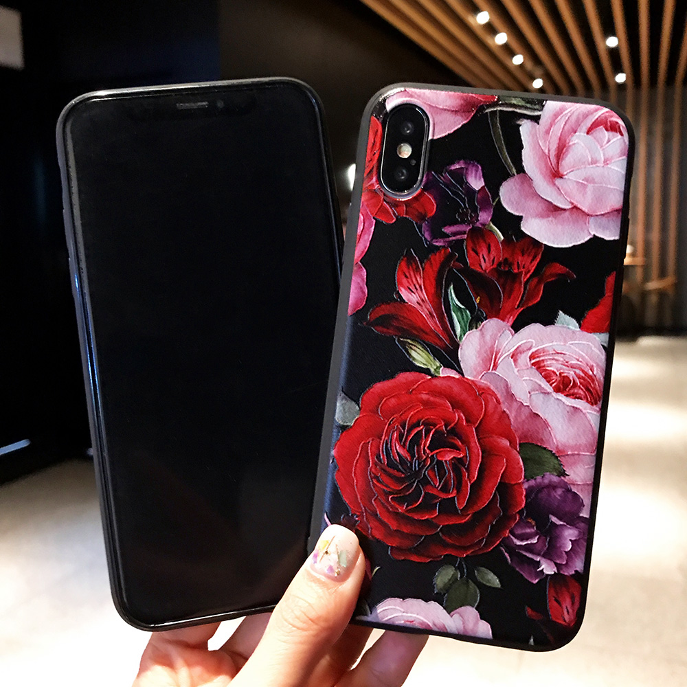 KIPX1071_2_JONSNOW 3D Flower Emboss Case for iPhone 6 6S 7 8 Plus Painted Phone Cover for iPhone X XR XS Max Soft Cases