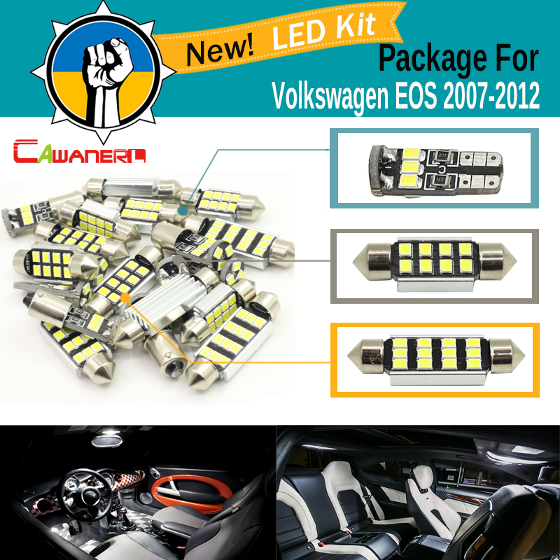 Cawanerl Car Canbus LED Package Kit White 2835 SMD Interior Dome Glove Box License Plate Light For VW Volkswagen EOS 2007-2012 2pcs car led headlight kit led bulb d33 h11 free canbus auto led lamps white headlamp with yellow light fog light for citroen c4