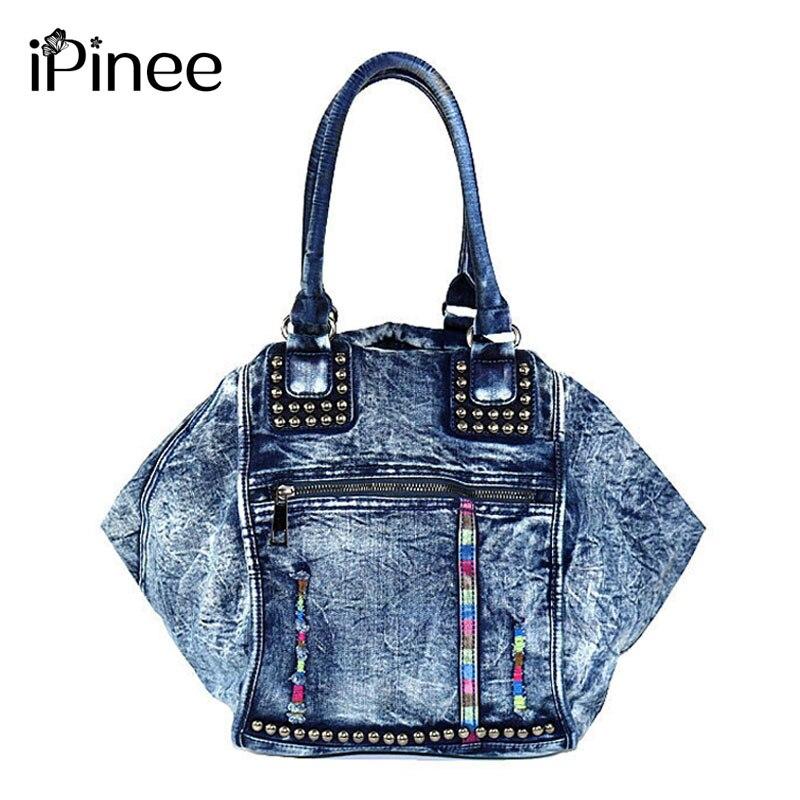 iPinee Rivet Vintage Fashion Denim Bag Women Tote Bag Jeans Ladies Handbags Women's Shoulder bags Casual Totes Trapeze Bags