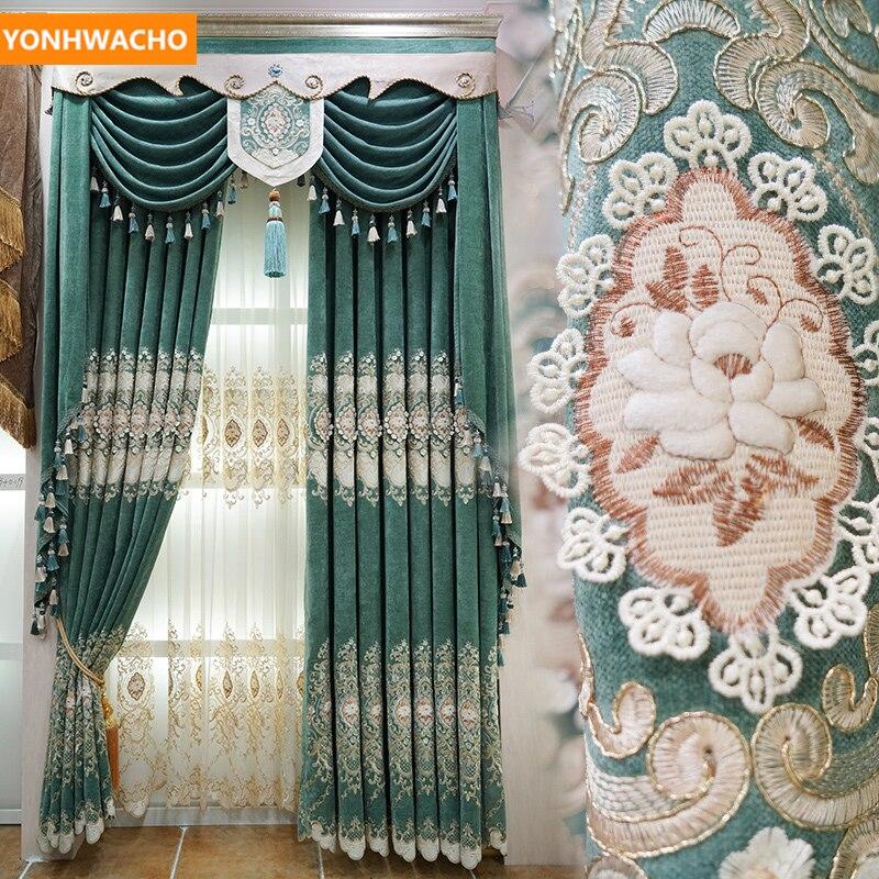 Rideaux personnalisés 3D broderie en relief luxe magnifique chenille européenne tissu vert rideau occultant tulle cantonnière drapé B344