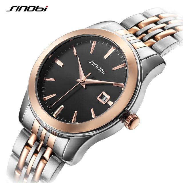 SINOBI Brand Lovers' Couple Watches Men Waterproof Business Watch Women Full Steel Quartz Wristwatch Clock Relogio Masculino