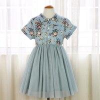 5295 Denim Çiçek Baskılar Prenses Tutu Bebek Kızlar Için Çocuk Elbiseler Çocuk Giyim toptan bebek çocuk butik giyim sürü