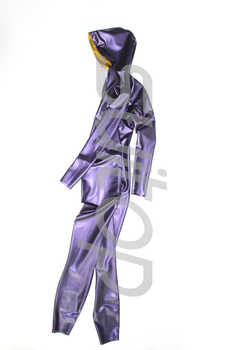 New arrived men's latex jumpsuit rubber catsuit with cap in metallic purple and gold - DISCOUNT ITEM  5% OFF All Category