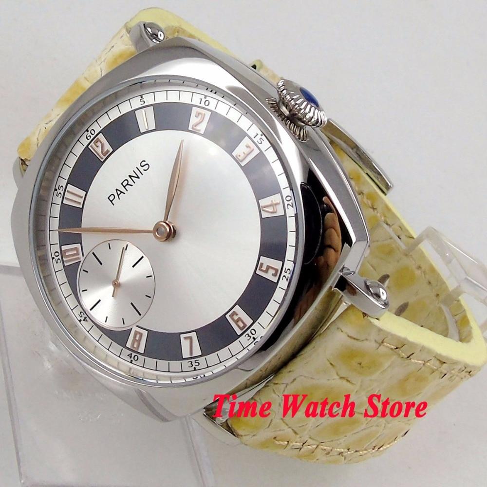 лучшая цена luxury 44mm Parnis men's watch silver dial golden hands 17 jewels 6497 mechanical hand winding movement wrist watch 165