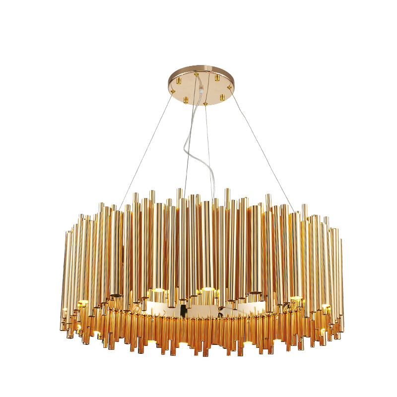 Italy Design Brubeck Gold Aluminum Alloy Tube Pendant Light