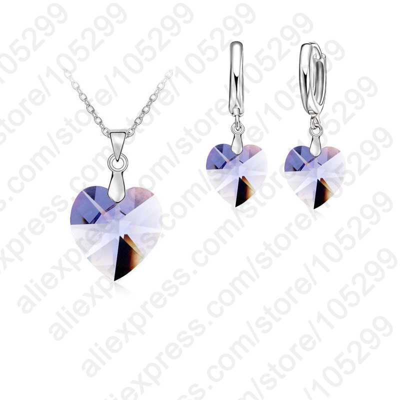 Romantique clairement cristaux autrichiens 925 bijoux en argent Sterling ensembles coeur pendentif colliers levier dos boucle d'oreille pour femme