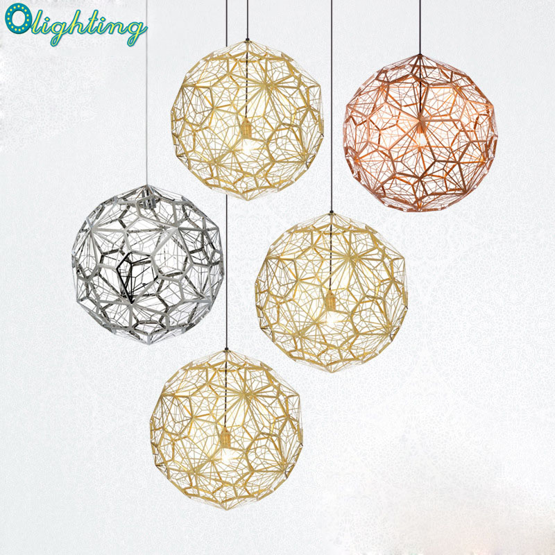 Modern Etch Shade Hanging silver Stainless Steel Web Ball Pendant Light Art Deco Restaurant Foyer Pendant Lamp Replica Lights stainless steel cuticle removal shovel tool silver
