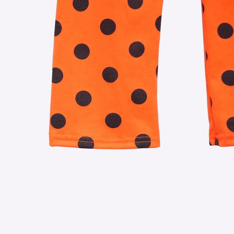 Фабрика продавать малышей Одежда для девочек Boo платье с вышивкой в горошек Леггинсы оранжевый Хэллоуин Детская одежда H007