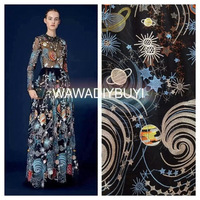 2017 beautiful starry sky 9 colors polyester embroidery lace fabric evening dress lace fabric