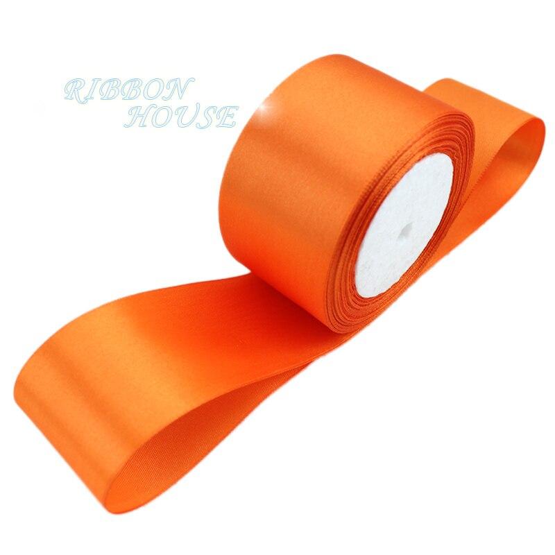(25 ярдов/рулон) 2 »(50 мм) оранжевый красный одно лицо атласная лента лямки украшения подарок Рождество лентами