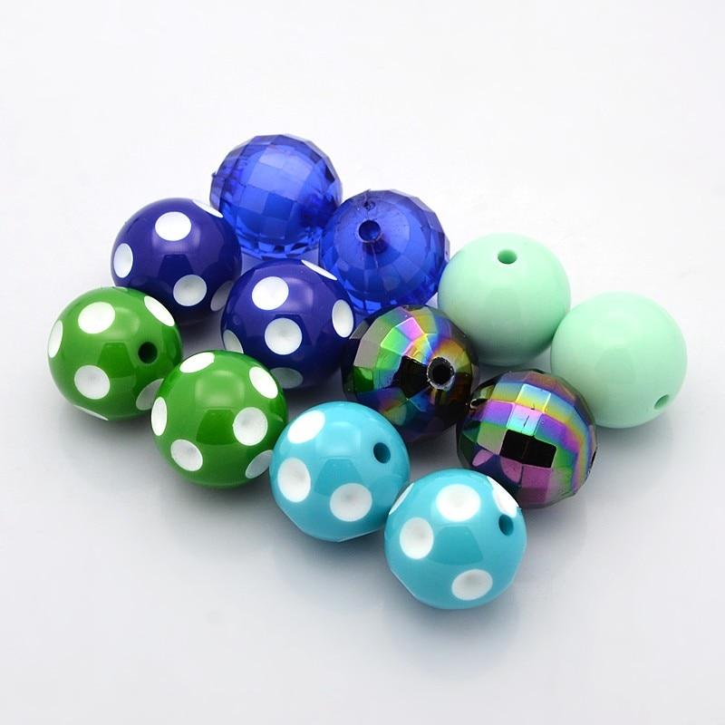 Doble cara impreso flor azul redondo en forma de concha de perlas tamaño 20mm.