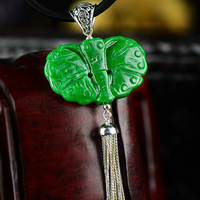 Genuine Silver 925 Jewelry Jade Moth Pendant For Women With Long Tassels Vintage Lucky Pendant Pingente