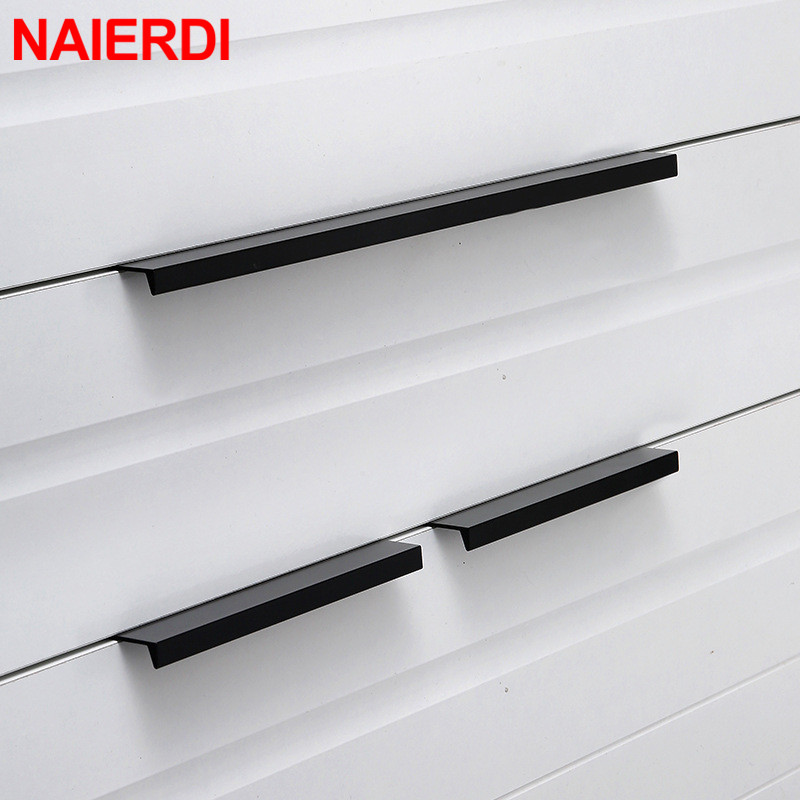 NAIERDI Gold Black Hidden Cabinet Pulls Aluminum Alloy Kitchen Cupboard Handles Drawer Knobs Furniture Handle Bedroom Hardware