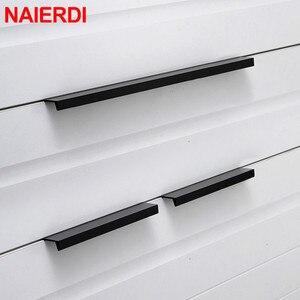 NAIERDI Gold Black Hidden Cabinet Pulls Aluminum Alloy Kitchen Cupboard Handles Drawer Knobs Furniture Handle Bedroom Hardware(China)