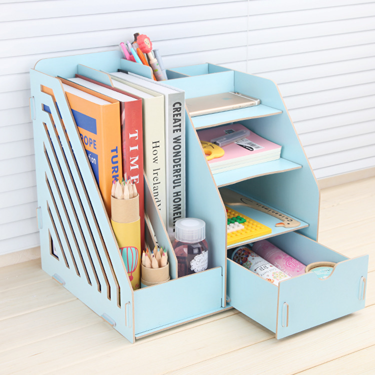 Stay Gold Wooden Storage Box  Multifunctional Bookshelf  Makeup Organizer Make Up Organizer Organizer Basket Car-styling makeup organizer box