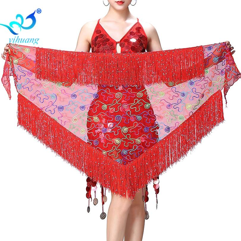 Belly Dance Costume Hip Scarf Women Bellydance Performance Belt Shawl Mesh Sequined&Fringe Wrap Skirt Hip Skirt Triangle