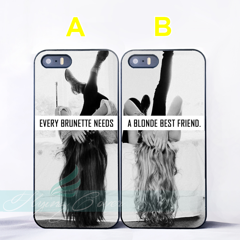 Capa Blonde Brunette Best Friend BFF Couple Coque Cases for iPhone X ...