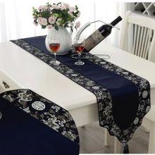 200*33 см китайский Винтаж роскошный ручной смешанного парчи кисточкой темно-синий Настольная дорожка кровать флаг