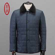 DINGTONG Men Winter Lined Coat Removable Genuine Lamb Fur Collar Jacket Male Light Padded Overcoat Casual Slim Grey Blue Coat
