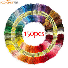 KOKNIT 150 Skeins of 8m Soft Cotton Cross Stitch Embroidery Threads Floss Sewing Friendship Bracelet String Random Color