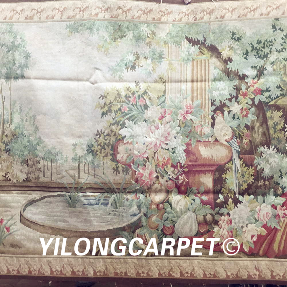 Yilong 4.2'x5.6' Wall hanging tapestry pure 100% wool french hand woven aubusson tapestry (Au32 4.2x5.6) - 2