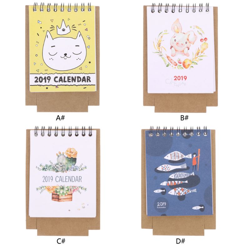 Office & School Supplies Calendars, Planners & Cards 2019 New Cute Cartoon Calendar Creative Desk Vertical Paper Multi-function Storage Box Timetable Plan Notebook