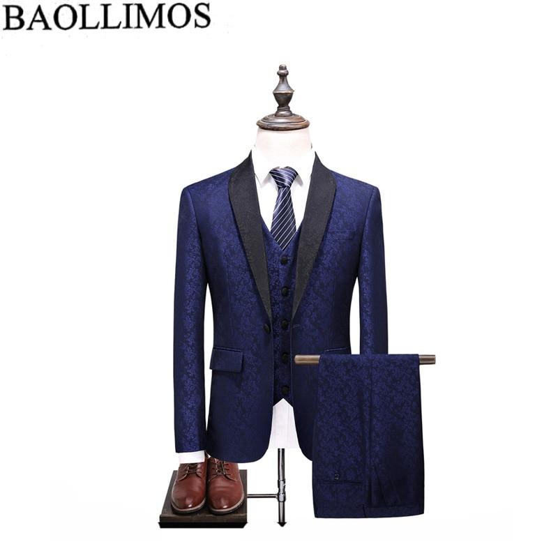 Men Suit 2019 Blue 3 Pieces Mens Suits Plaid Slim Fit Wedding Suits Groom Tweed Wool Tuxedos for Wedding (Jacket+Pants+Vest)