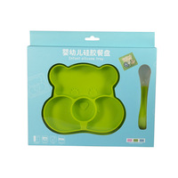 2pcs Cartoon toddler plate Silica Gel Plate+Spoon Set kids dinner dishes baby silicone plate