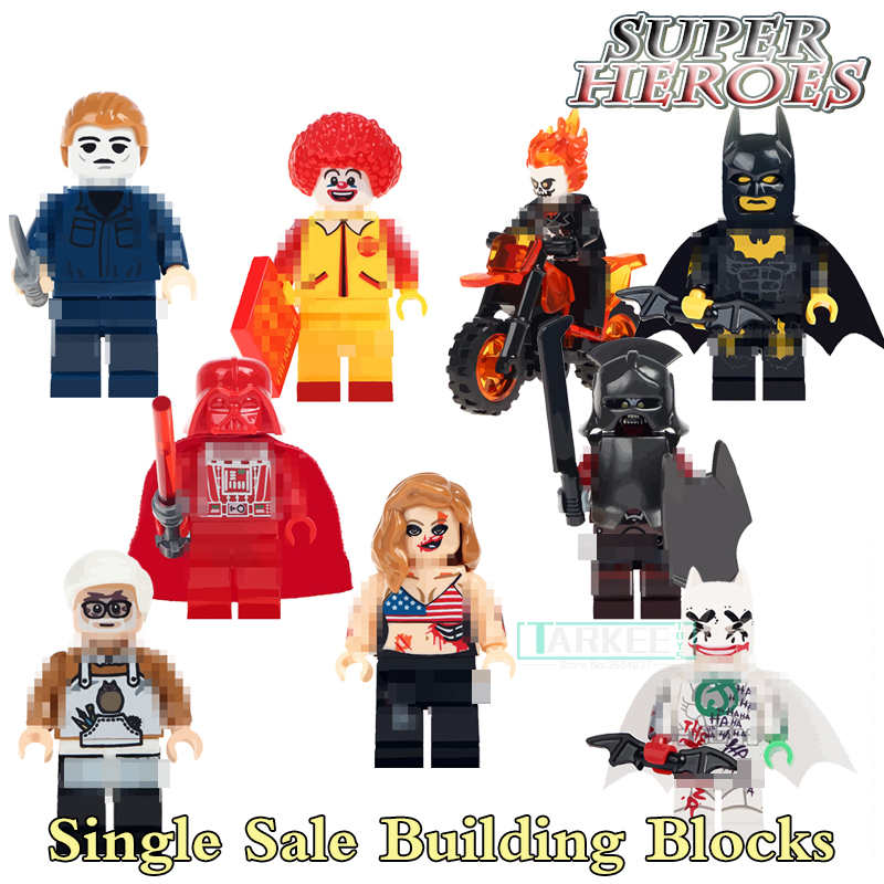 1pc Building Blocks Batman Ronald McDonald Joker Ghost Rider Super Heroes Star Wars Bricks Kids DIY Toys Hobbie WM298 Figures single building blocks kits ninja pythor kozu lloyd zane nya figures super heroes star wars model bricks kids toys hobbies x0143