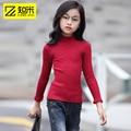 La mitad De Las Niñas Cuello Alto sSweater Embroma la Ropa de Primavera Nuevo Estilo de color Sólido Knitte Suéter Manga Cuerno Ropa de Las Muchachas 9999