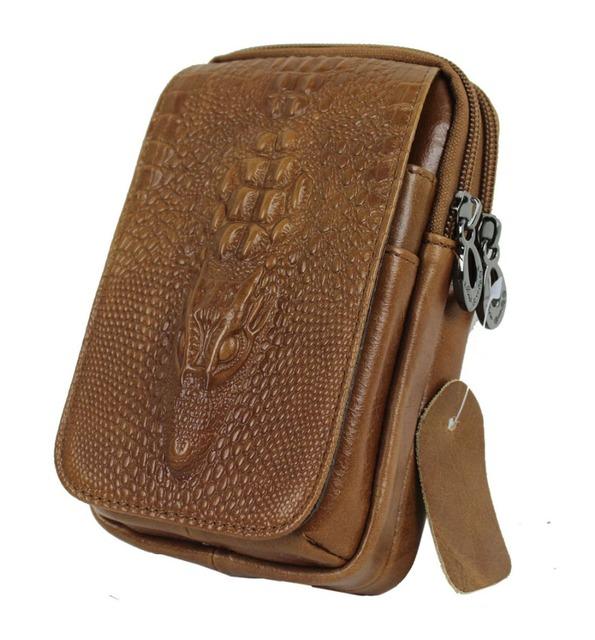 Homens de alta qualidade genuína bolso de telefone móvel celular de couro de crocodilo de grãos cinto cigarreira Hip Bum Fanny bolsa bolsa de cintura bolsa