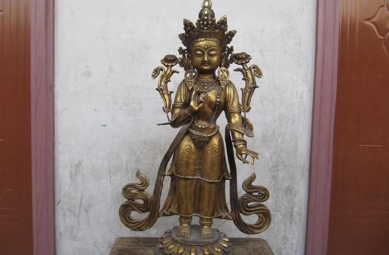 Tibet Folk Fane Bronze Gild Stand White TaRa padma Kwan-Yin Bodhisattva BuddhaTibet Folk Fane Bronze Gild Stand White TaRa padma Kwan-Yin Bodhisattva Buddha