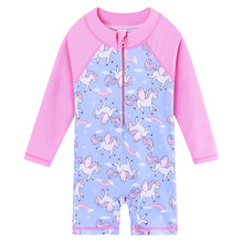 BAOHULU Long Sleeve Cartoon Unicorn Baby Swimwear Children One Piece Swimsuit Girls Swimwear UPF 50+ Beach Wear Swimming Suit
