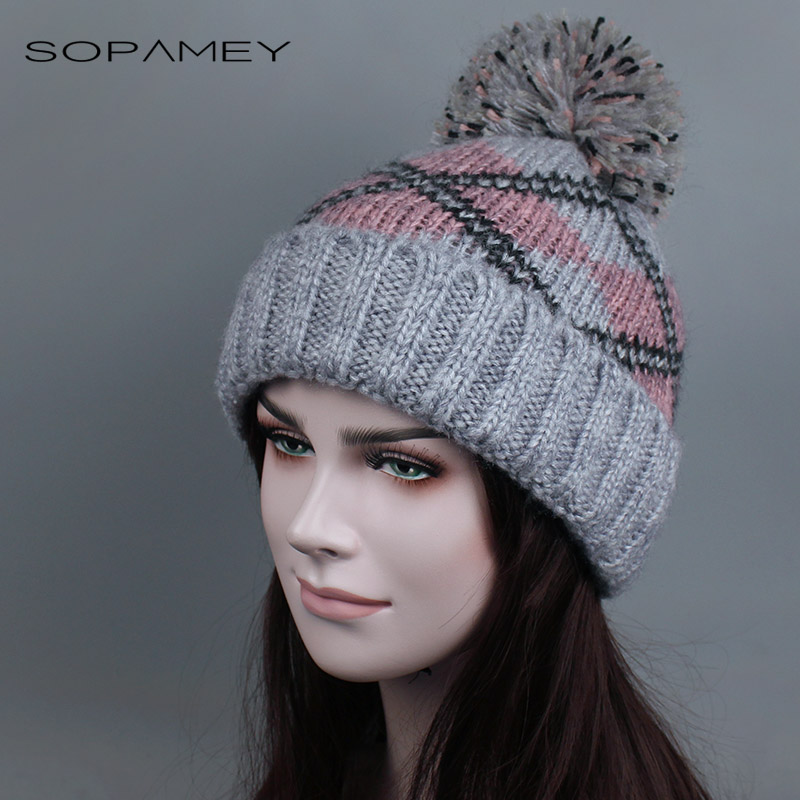 Winter Hat for Women Snow Ski Hat Ball Cap Pom Poms Girls Hat Knitted Beanies Cap Thick Female Plus cashmere Thicker Cap llama and pom poms snow jackets p