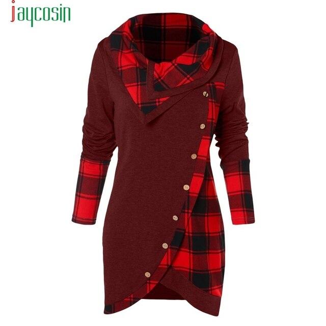 JAYCOSIN Winter vrouwen shirt button meisje kleding Vrouwen Lange Mouwen Plaid Coltrui TartanTunic Sweatshirt vrouwelijke Trui Tops