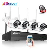 Newest Plug And Play 4CH Wireless NVR Video Recorder Kit 960P Outdoor Indoor Night Vison Security