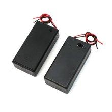 Pair 9V Battery Holder Storage Case ON/OFF Switch w Cap 2 Pcs